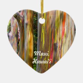Ornement Cœur En Céramique Arbres peints et forêt en bambou, Maui