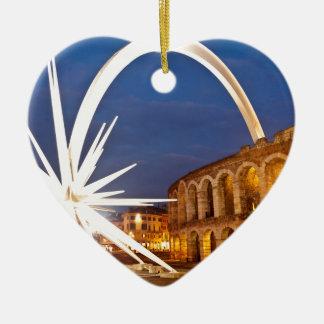 Ornement Cœur En Céramique Arène de Vérone avec Starburst