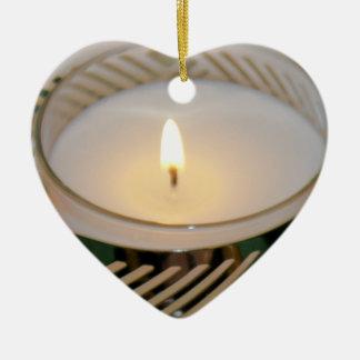 Ornement Cœur En Céramique Argent Candleholderv2 de bougie de vacances de