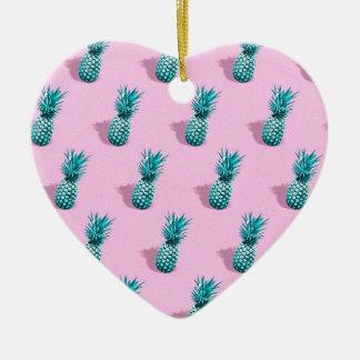 Ornement Cœur En Céramique Arrière - plan de rose de motif de turquoise