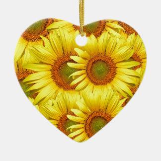 Ornement Cœur En Céramique Arrière - plan de tournesols