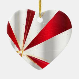 Ornement Cœur En Céramique Arrière - plan rouge et argenté