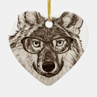 Ornement Cœur En Céramique Art de ballot de loup