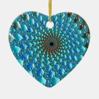 Ornement Cœur En Céramique Art de fractale d'arc-en-ciel