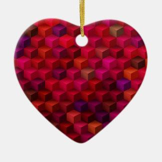 Ornement Cœur En Céramique Art de motif de cube en cubisme de rouge cramoisi