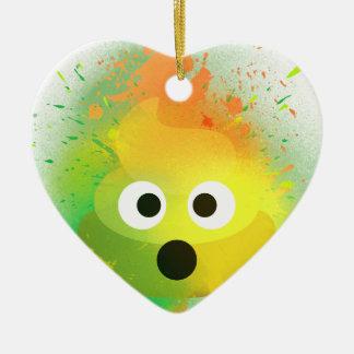 Ornement Cœur En Céramique Art de peinture de jet de jaune de dunette d'Emoji