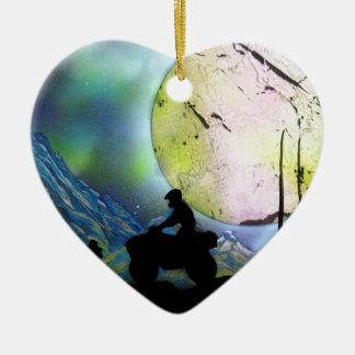 Ornement Cœur En Céramique Art de peinture de jet de paysage de l'espace de