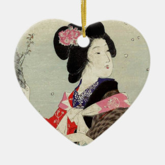 Ornement Cœur En Céramique Art japonais de Madame Suzuki Kason Sakura Japon