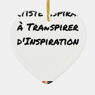 ORNEMENT CŒUR EN CÉRAMIQUE ARTISTE ASPIRANT À TRANSPIRER D'INSPIRATION