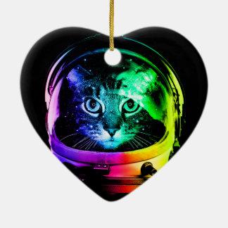 Ornement Cœur En Céramique Astronaute de chat - chat de l'espace - chats