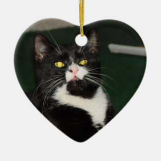 Ornement Cœur En Céramique Attitude de chat de Charli