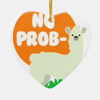 Ornement Cœur En Céramique Aucun Prob-Lama - l'aucun lama de problème - drôle