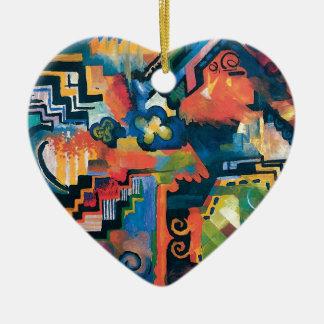 Ornement Cœur En Céramique Auguste Macke - hommage à l'art moderne abstrait