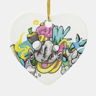 Ornement Cœur En Céramique Autocollant abstrait