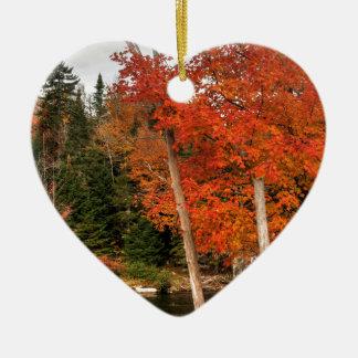 Ornement Cœur En Céramique Automne d'Adirondack