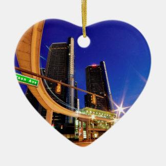 Ornement Cœur En Céramique Avenue de Detroit Michigan Jefferson
