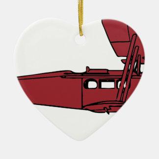 Ornement Cœur En Céramique Avion rouge