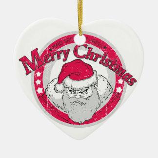 Ornement Cœur En Céramique Bad Santa