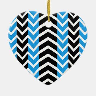 Ornement Cœur En Céramique Baleine bleue et noire Chevron