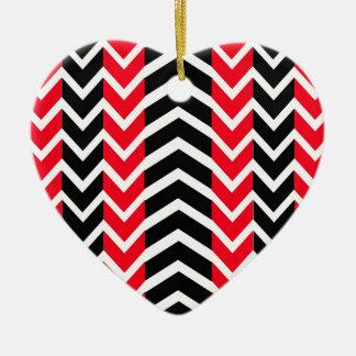 Ornement Cœur En Céramique Baleine rouge et noire Chevron