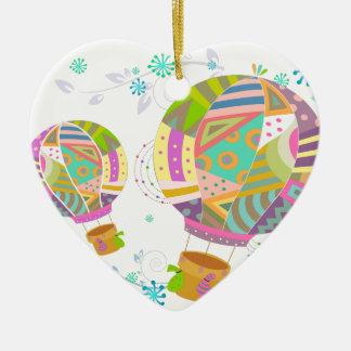 Ornement Cœur En Céramique Ballon coloré heureux d'air chaud