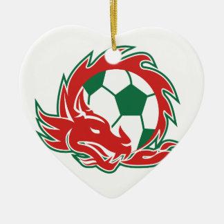 Ornement Cœur En Céramique Ballon de football de dragon de Gallois