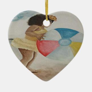 Ornement Cœur En Céramique Ballon de plage