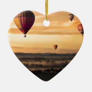 Ornement Cœur En Céramique Ballons à air chauds