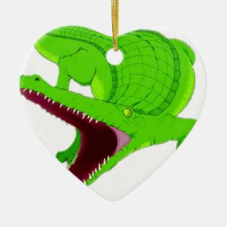 Ornement Cœur En Céramique bande dessinée d'alligator