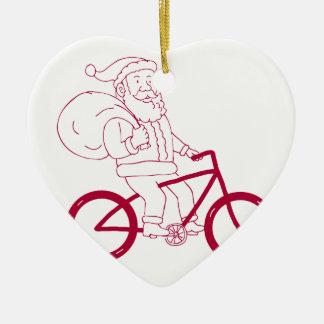 Ornement Cœur En Céramique Bande dessinée de côté de bicyclette d'équitation