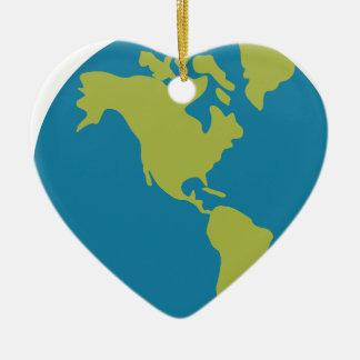 Ornement Cœur En Céramique Bande dessinée de la terre de planète