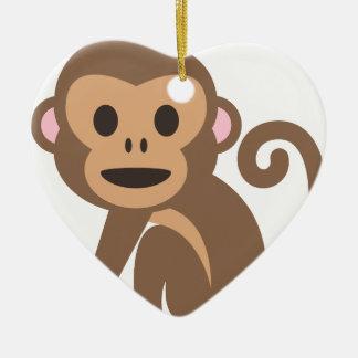 Ornement Cœur En Céramique Bande dessinée heureuse de singe