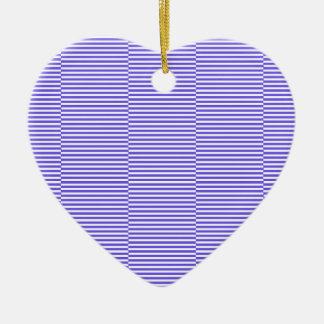 Ornement Cœur En Céramique Bandes - bleu et blanc