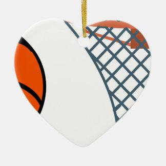 Ornement Cœur En Céramique Basketball2