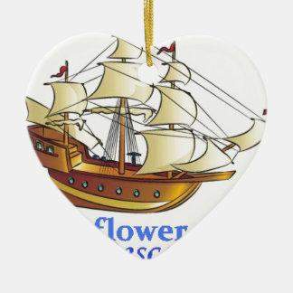 Ornement Cœur En Céramique Bateau de navigation de descendant de fleur