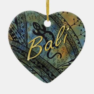 Ornement Cœur En Céramique Batik de lézard