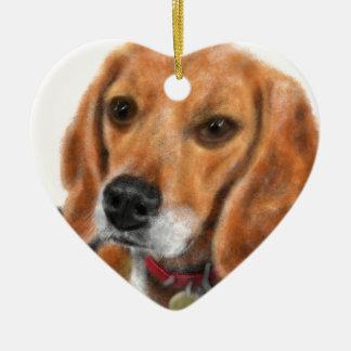 Ornement Cœur En Céramique Beagle