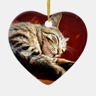 Ornement Cœur En Céramique Beau chat tigré