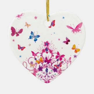 Ornement Cœur En Céramique Beau papillon d'infini