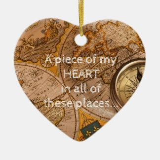 Ornement Cœur En Céramique Beaucoup d'endroits… tous ont mon coeur