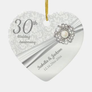 Ornement Cœur En Céramique Bel 30ème anniversaire de bijou de perle