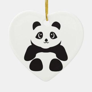 Ornement Cœur En Céramique Bel ours panda