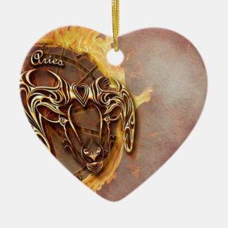 Ornement Cœur En Céramique Bélier de signe de zodiaque