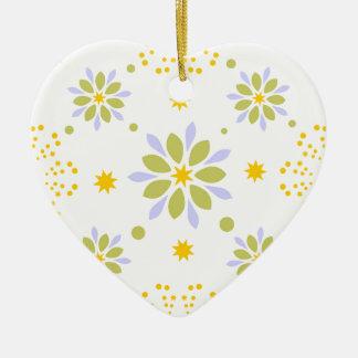 Ornement Cœur En Céramique Belles fleurs et étoiles