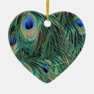 Ornement Cœur En Céramique Belles plumes de paon