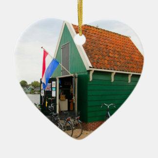 Ornement Cœur En Céramique Bicyclettes, village néerlandais de moulin à vent,