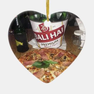 Ornement Cœur En Céramique Bière et pizza de Bali