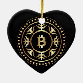 Ornement Cœur En Céramique Bitcoin 2