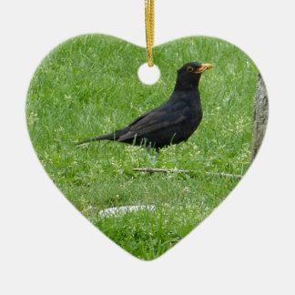 Ornement Cœur En Céramique Black Bird
