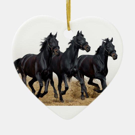 Ornement Cœur En Céramique Black horse